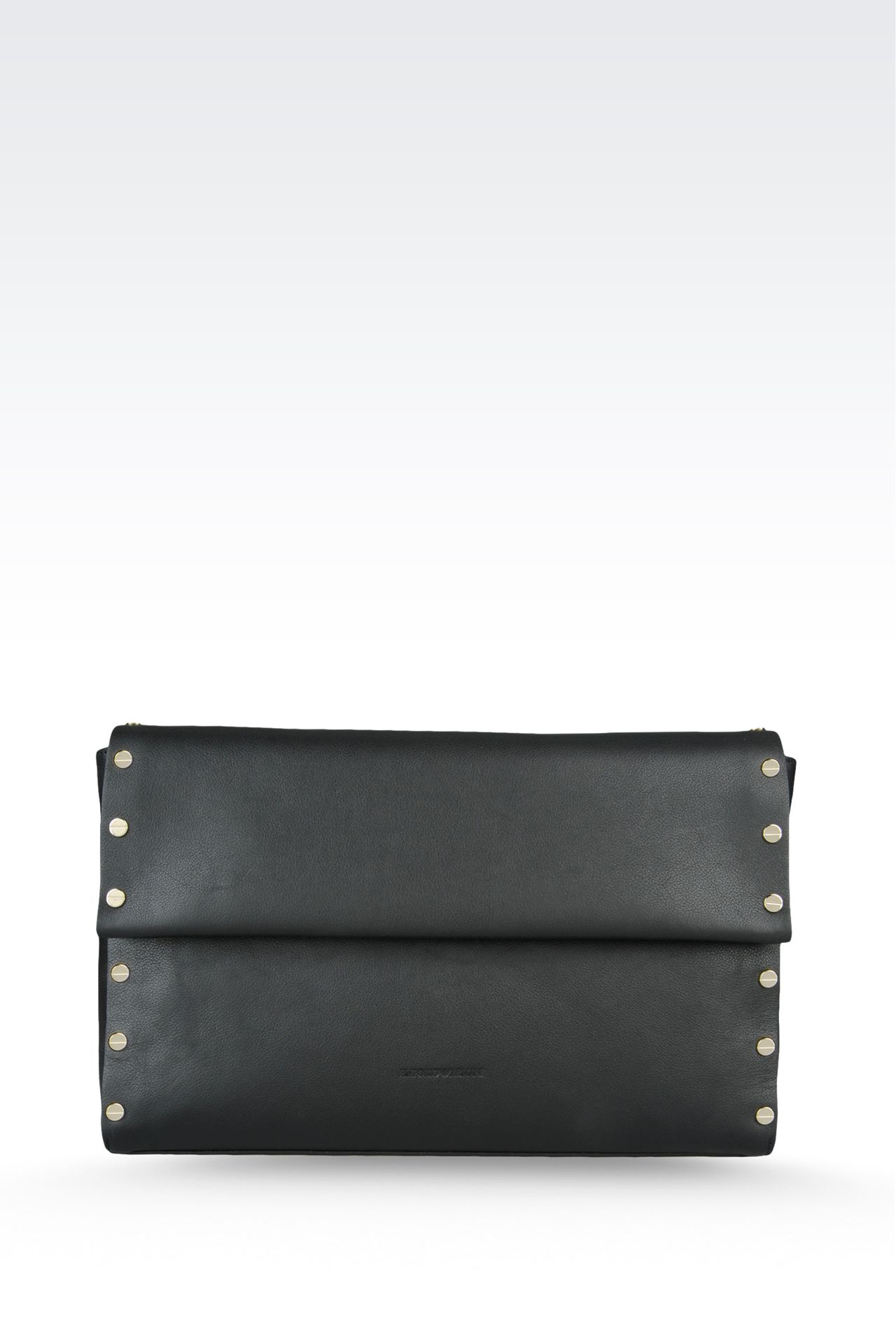clutch in hammered leather with studs: Top handles Women by Armani - 0