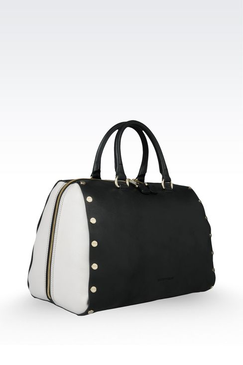 two-color zip around tote with studs: Top handles Women by Armani - 3