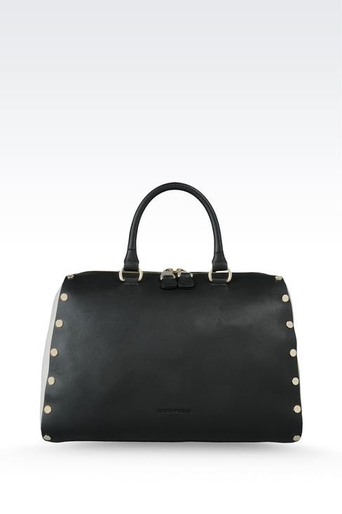 two-color zip around tote with studs: Top handles Women by Armani - 1