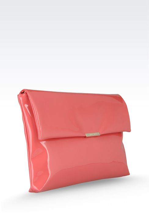 large clutch with patent effect: Top handles Women by Armani - 3