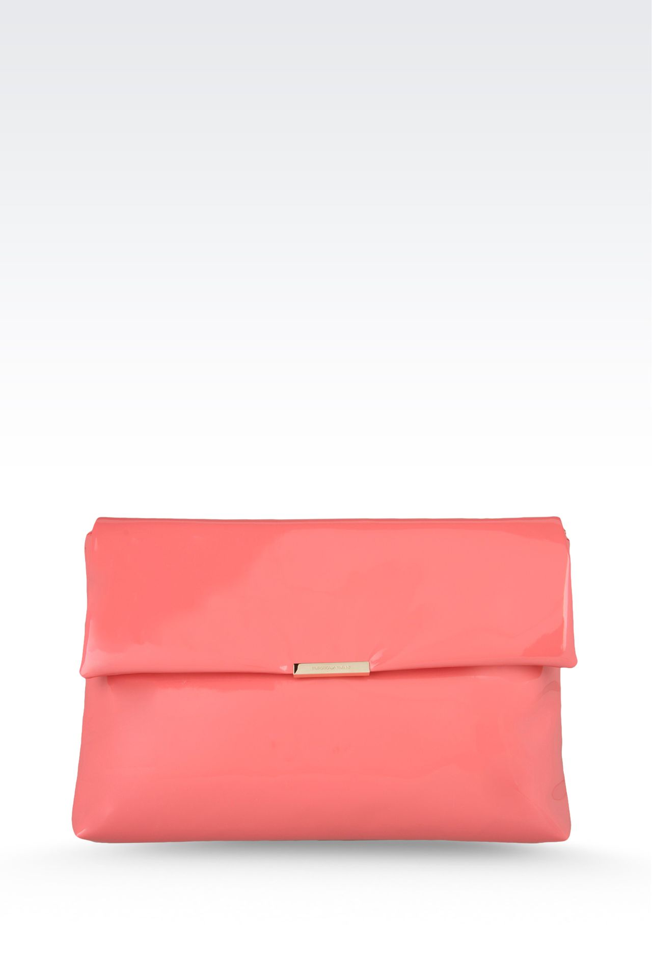 large clutch with patent effect: Top handles Women by Armani - 0