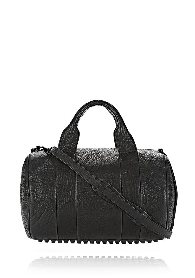 ALEXANDER WANG ROCCO IN BLACK PEBBLE LAMB WITH MATTE BLACK