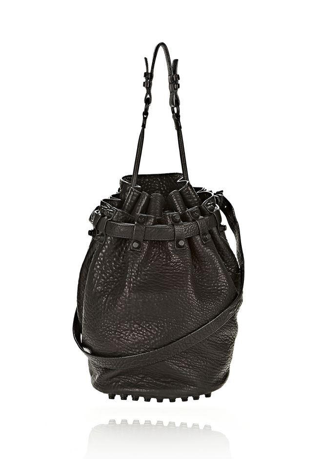 ALEXANDER WANG DIEGO IN BLACK PEBBLE LEATHER WITH MATTE BLACK