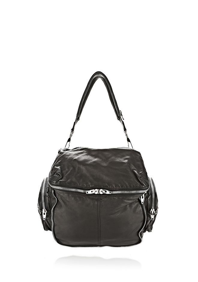 ALEXANDER WANG JANE IN BLACK WASHED LAMB  WITH RHODIUM