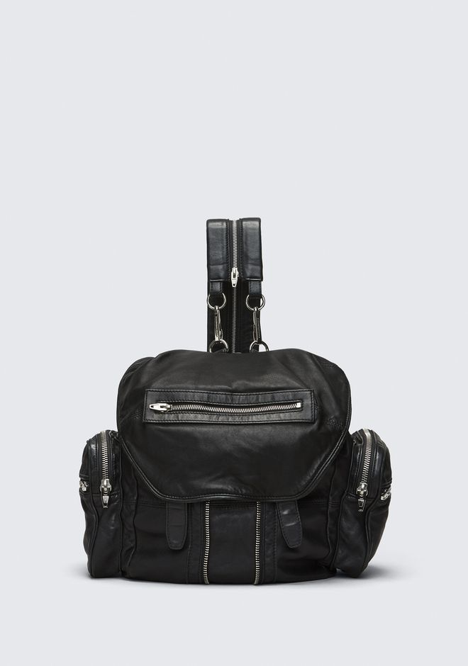 ALEXANDER WANG BACKPACKS Women MARTI BACKPACK IN WASHED BLACK  WITH RHODIUM