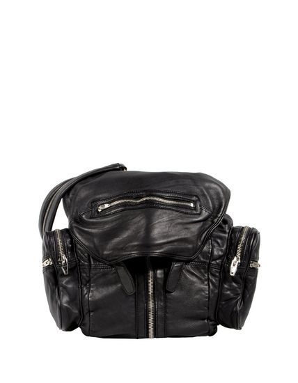 MARTI BACKPACK IN WASHED BLACK  WITH RHODIUM