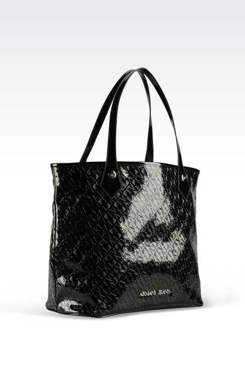 SHOPPING BAG IN ECO PATENT LEATHER WITH ALL OVER LOGO: Top handles Women by Armani - 3