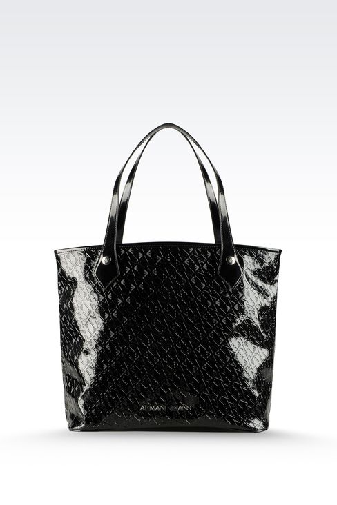 SHOPPING BAG IN ECO PATENT LEATHER WITH ALL OVER LOGO: Top handles Women by Armani - 1