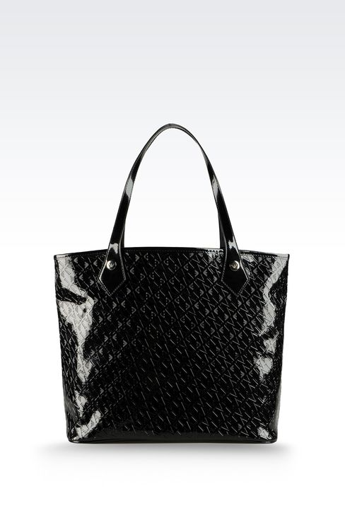 SHOPPING BAG IN ECO PATENT LEATHER WITH ALL OVER LOGO: Top handles Women by Armani - 2