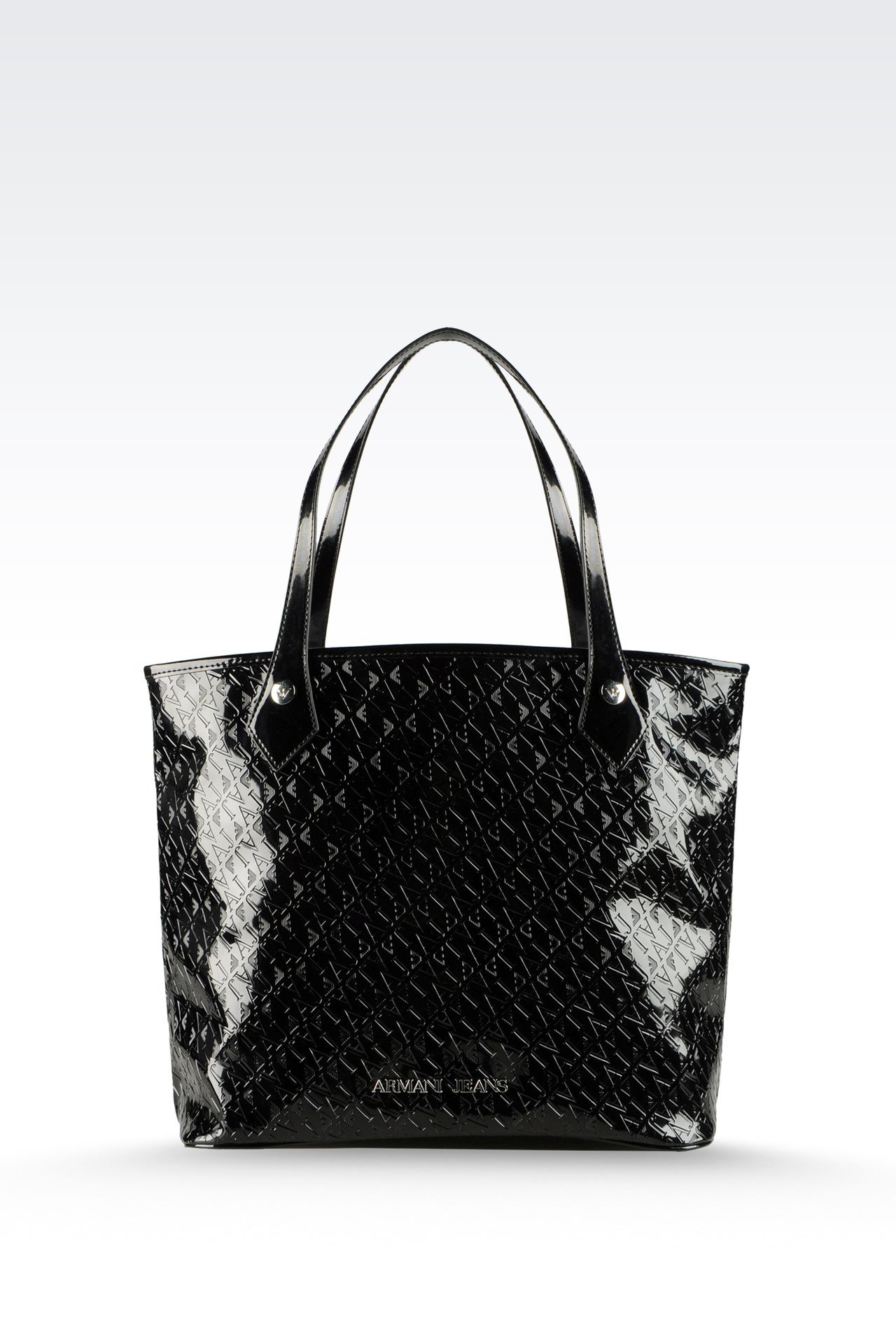 SHOPPING BAG IN ECO PATENT LEATHER WITH ALL OVER LOGO: Top handles Women by Armani - 0