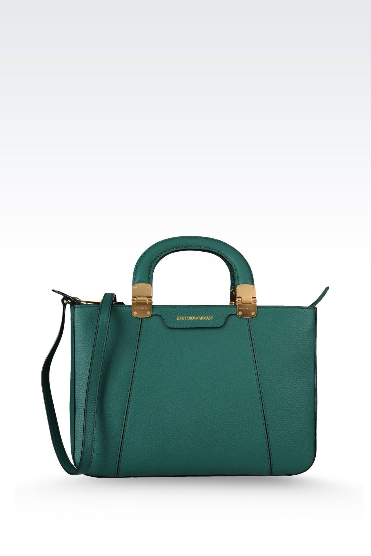 calfskin handbag with detachable shoulder strap: Shoppers Women by Armani - 0