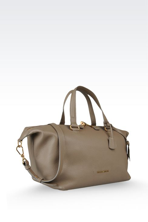 two-handle handbag in hammered leather: Top handles Women by Armani - 4