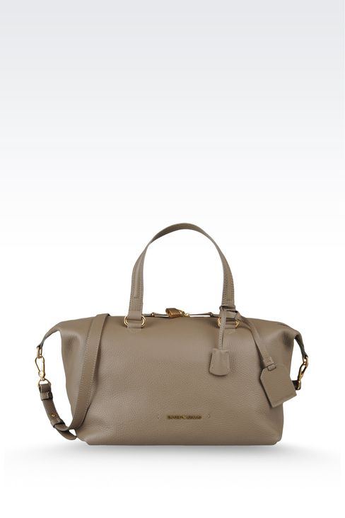 two-handle handbag in hammered leather: Top handles Women by Armani - 1