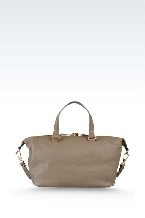 two-handle handbag in hammered leather: Top handles Women by Armani - 2