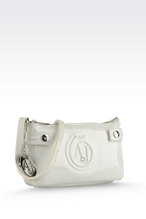BAGUETTE BAG IN PATENT FAUX LEATHER WITH PENDANT: Top handles Women by Armani - 4