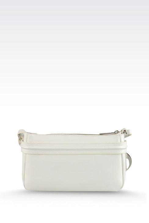 BAGUETTE BAG IN PATENT FAUX LEATHER WITH PENDANT: Top handles Women by Armani - 2