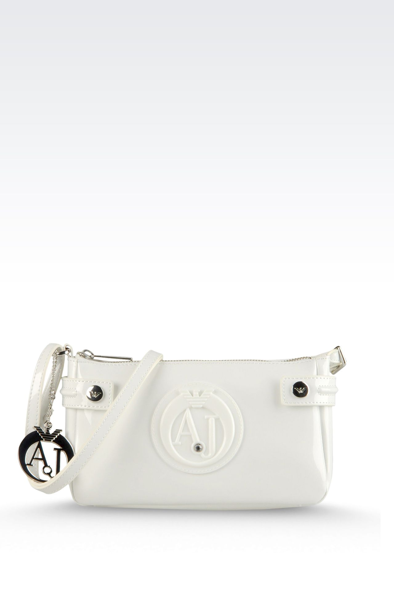 BAGUETTE BAG IN PATENT FAUX LEATHER WITH PENDANT: Top handles Women by Armani - 0