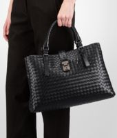 Nero Light Calf Intrecciato Roma Bag