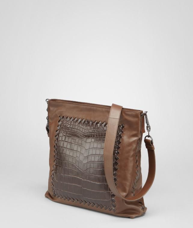Light Calf Soft Crocodile Fume Cross Body Bag