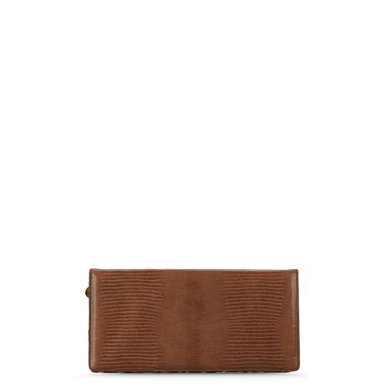 Stella McCartney, Beige Kunstkroko-Optik / Clutch Margaret mit Leo-Print