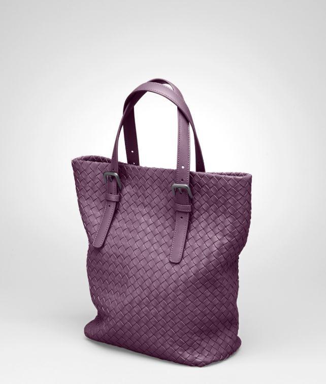 咖啡色编织小羊皮购物袋