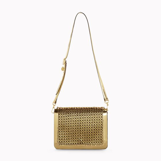 Stella McCartney, PEMBRIDGE A SPALLA IN ECOPELLE INTRECCIATA Oro