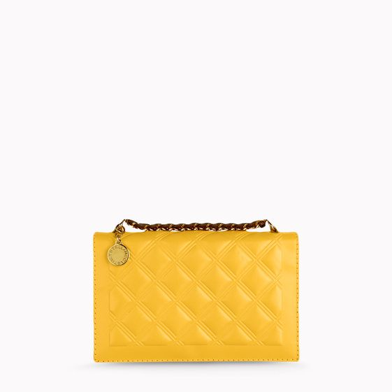Stella McCartney, Petite pochette Grace imitation nappa gaufr couleur cannelle