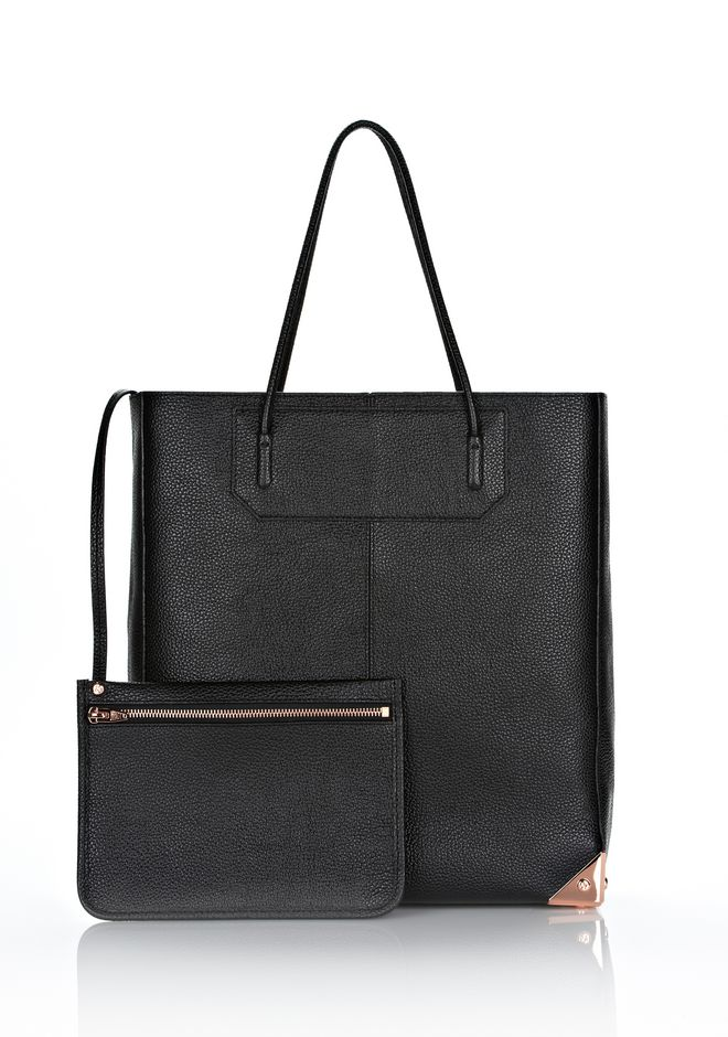 PRISMA TOTE IN PRINTED BLACK WITH ROSE GOLD