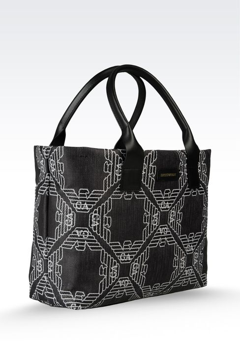small two-handle shopper in fabric with logo: Top handles Women by Armani - 3