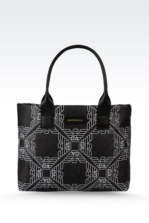 small two-handle shopper in fabric with logo: Top handles Women by Armani - 1