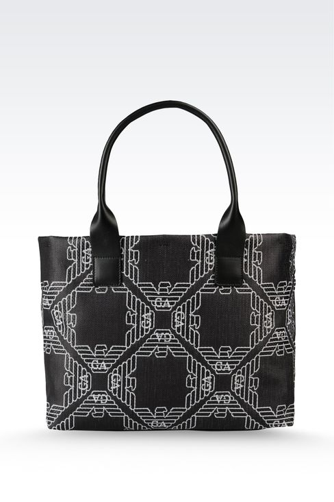 small two-handle shopper in fabric with logo: Top handles Women by Armani - 2