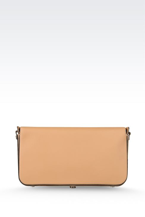 calfskin clutch with detachable shoulder strap: Top handles Women by Armani - 3