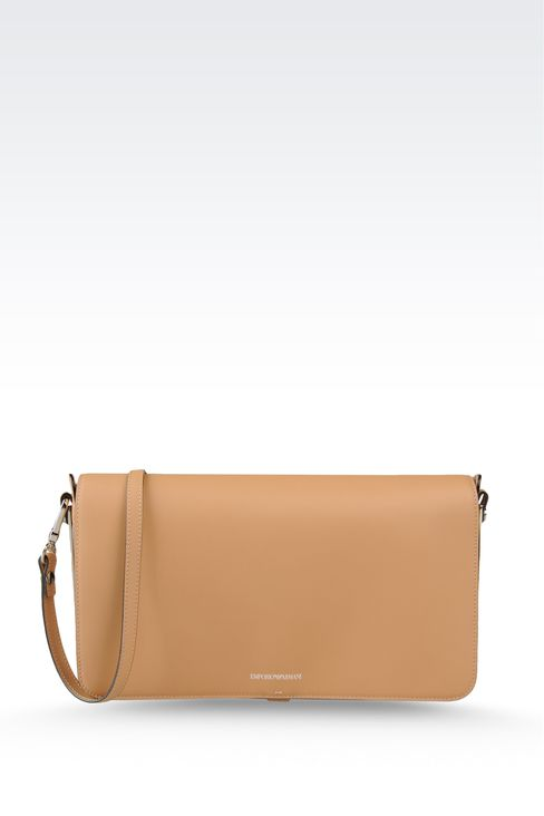 calfskin clutch with detachable shoulder strap: Top handles Women by Armani - 1