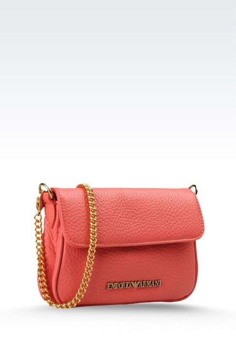 hammered leather bag with chain shoulder strap: Shoulder bags Women by Armani - 3
