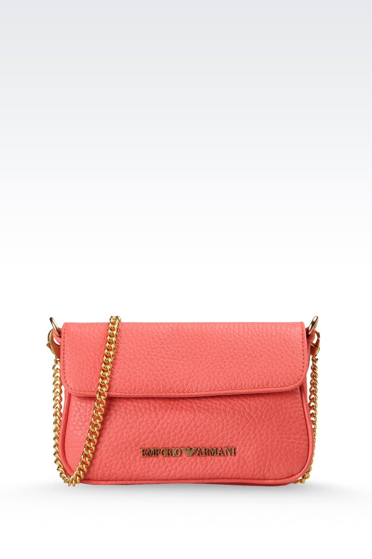 hammered leather bag with chain shoulder strap: Shoulder bags Women by Armani - 0