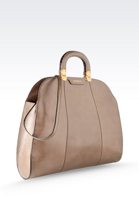 calfskin handbag with aged effect: Top handles Women by Armani - 3