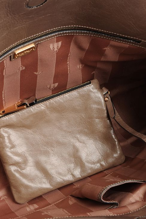 calfskin handbag with aged effect: Top handles Women by Armani - 4