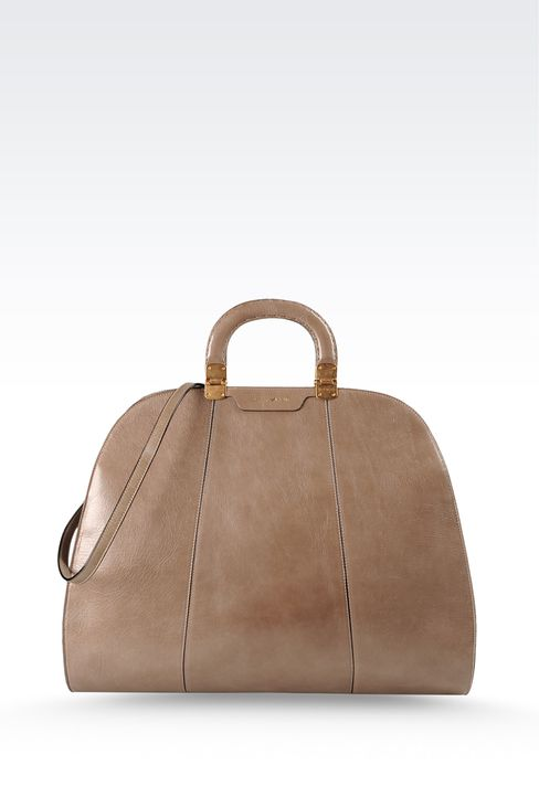calfskin handbag with aged effect: Top handles Women by Armani - 1