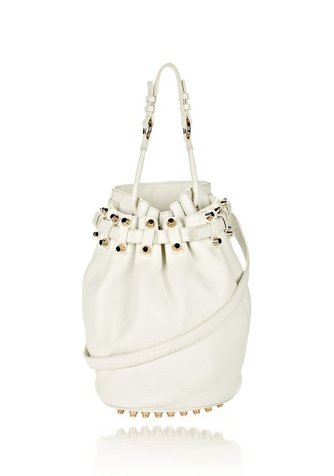 ALEXANDER WANG DIEGO IN SOFT PEROXIDE PEBBLE LEATHER WITH PALE GOLD