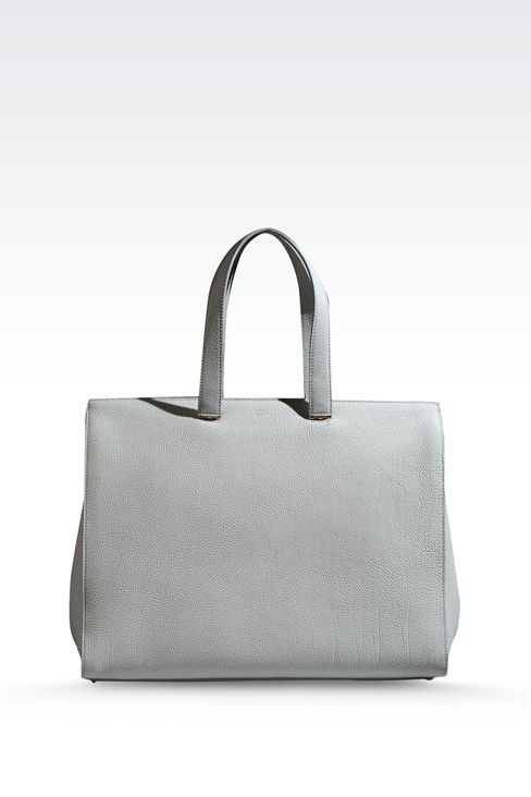 SHOPPING BAG IN HAMMERED LEATHER WITH LOGO: Shoppers Women by Armani - 1
