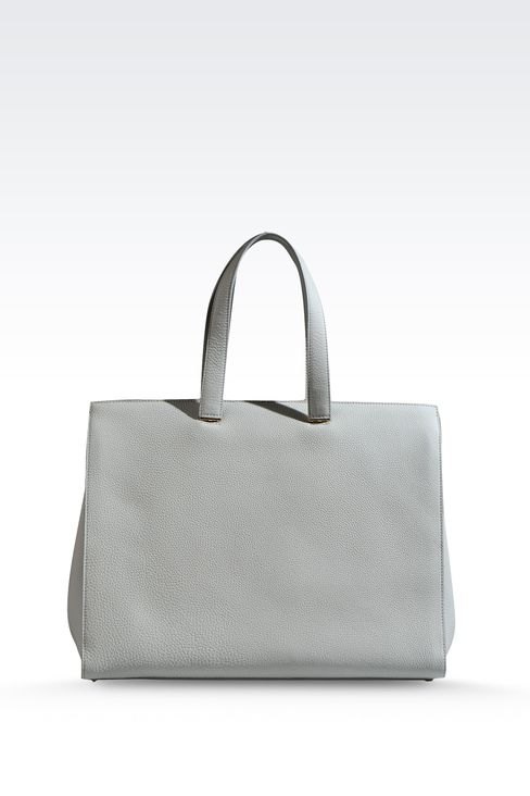 SHOPPING BAG IN HAMMERED LEATHER WITH LOGO: Shoppers Women by Armani - 2
