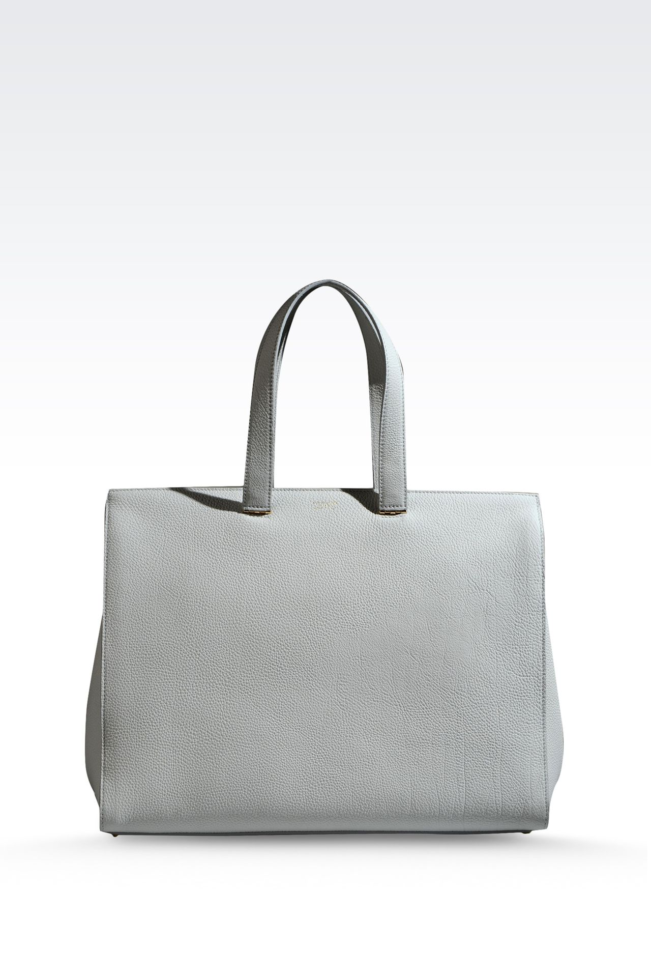 SHOPPING BAG IN HAMMERED LEATHER WITH LOGO: Shoppers Women by Armani - 0