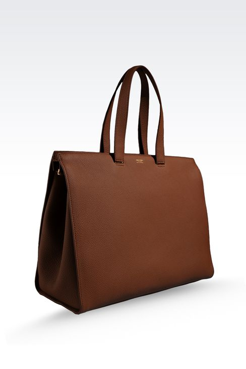 SHOPPING BAG IN HAMMERED LEATHER WITH LOGO: Shoppers Women by Armani - 3
