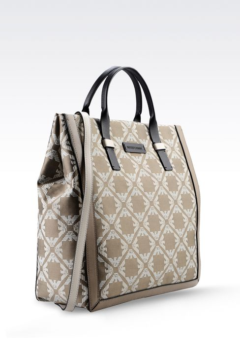 fabric shopper with calfskin details: Top handles Women by Armani - 3
