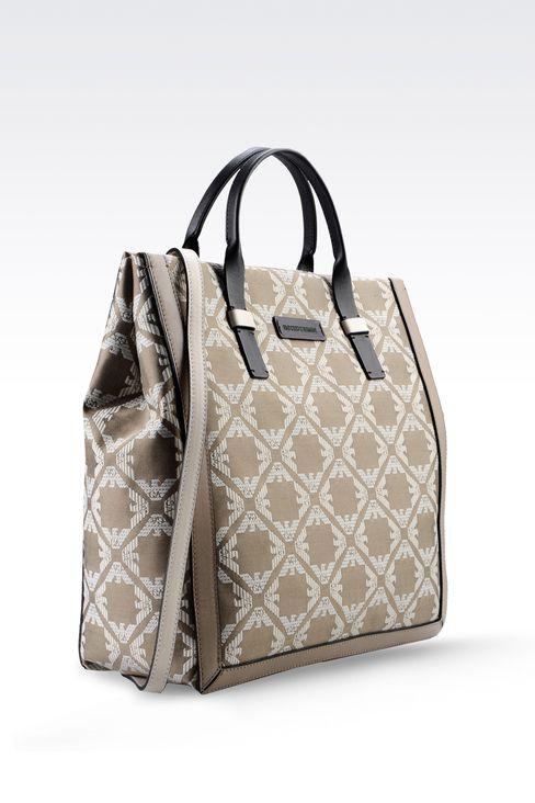 fabric shopper with calfskin details: Top handles Women by Armani - 3