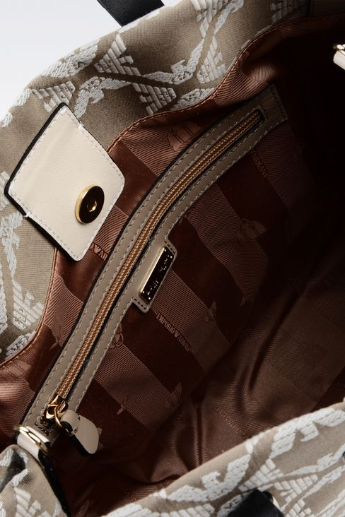 fabric shopper with calfskin details: Top handles Women by Armani - 4