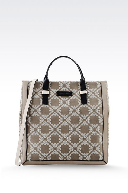 fabric shopper with calfskin details: Top handles Women by Armani - 1