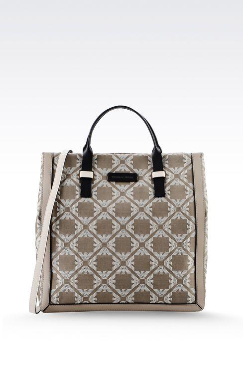 fabric shopper with calfskin details: Top handles Women by Armani - 1