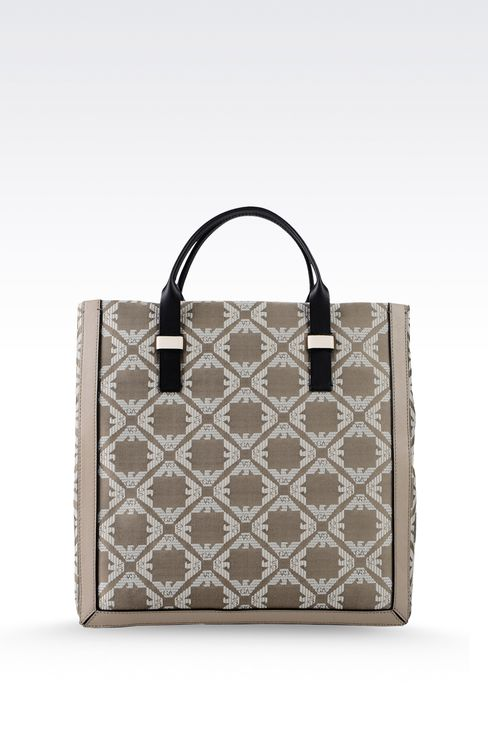 fabric shopper with calfskin details: Top handles Women by Armani - 2