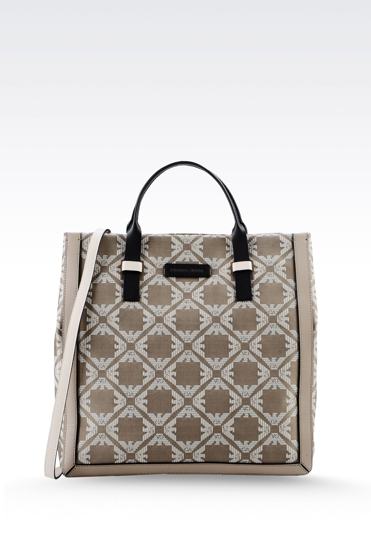 fabric shopper with calfskin details: Top handles Women by Armani - 0